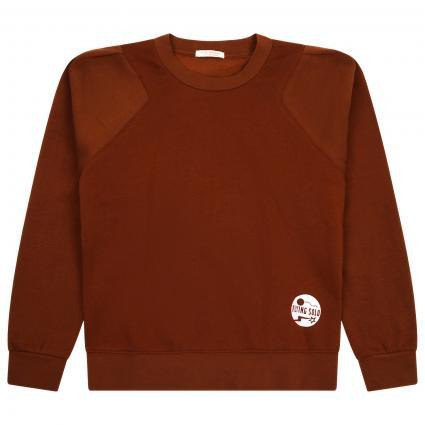 Sweatshirt mit Label-Print braun (0477 CACAO) | 152