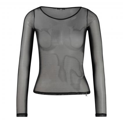 Langarmshirt in semitransparenter-Optik schwarz (K103 NERO) | XS
