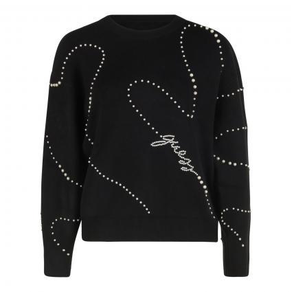 Pullover 'Ginny' mit Perlen-Details schwarz (JBLK JET BLACK A996) | M