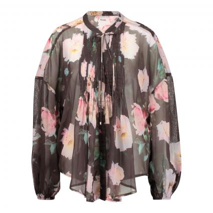 Bluse mit All-Over Druck braun (P60G MOTION ROSES BL)   L