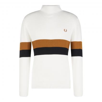 Pullover mit Streifendetails ecru (129 snowwhite)   L