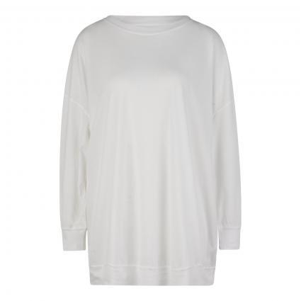 Langarmshirt mit Rundhalsausschnitt weiss (BLANC)   M/L