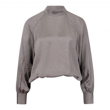 Fließende Bluse mit Stehkragen anthrazit (METAL) | XS/S