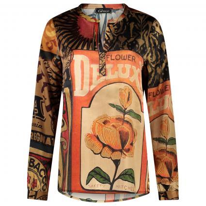 Gemusterte Bluse mit Tunika-Ausschnitt  divers (125 nougat) | S