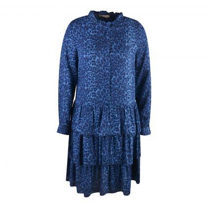 Kleid mit Animal-Muster blau (1634 smoke blue leo)   XS