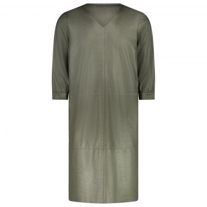 Kleid in Leder-Optik und V-Ausschnitt oliv (66 khaki) | 48
