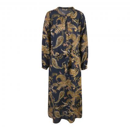Kleid mit Bindegürtel und All-Over Druck schwarz (1099 black print) | L