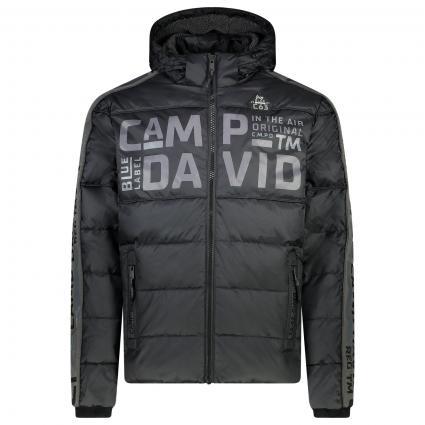 Jacke mit All-Over Label-Schriftzug schwarz (black) | S