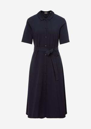 Jersey dress, flat knit collar, fro marine (881 night sky) | 44