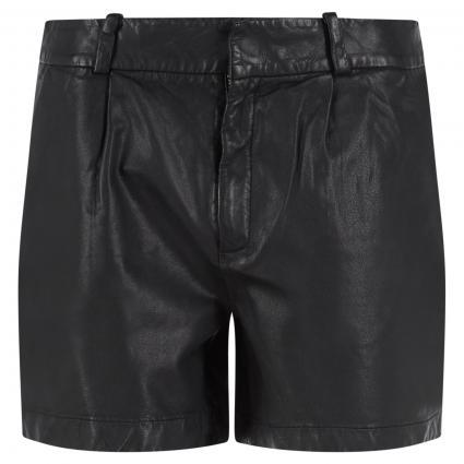 Ledershorts mit Bundfalten schwarz (990 black) | 40