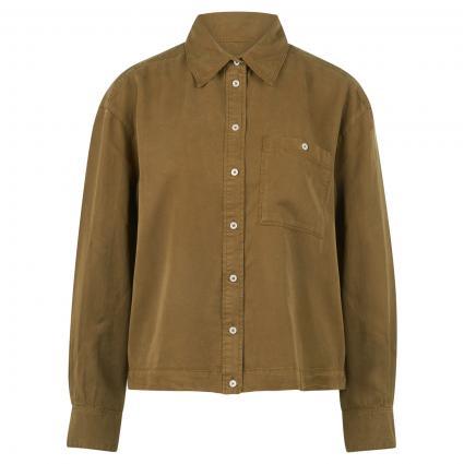blouse, long sleeved, kent collar, oliv (481 olive green) | 38