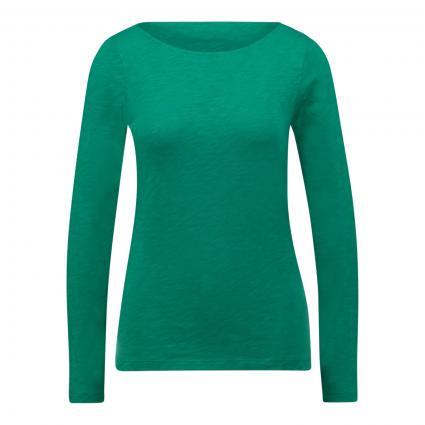 Langarmshirt mit Strukturmusterung grün (416 azure green) | XL