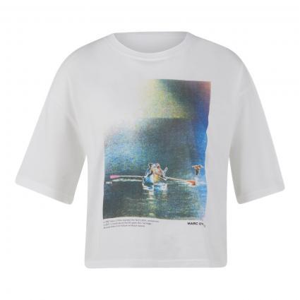 T-Shirt mit platziertem Druck weiss (100 white) | M