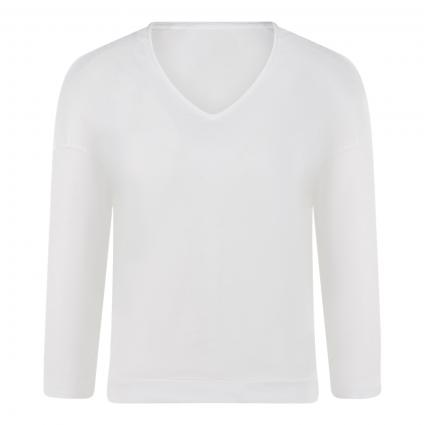 T-Shirt mit V-Ausschnitt weiss (100 white)   M
