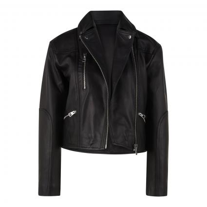 Lederjacke im Biker-Style schwarz (990 black) | 34