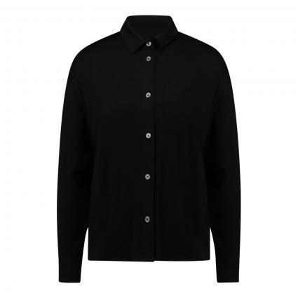 Jersey Bluse mit Brusttasche schwarz (990 black) | XS