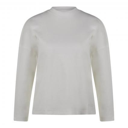 Lang Arm T-Shirt mit hohem Kragen weiss (104 paper white) | XS