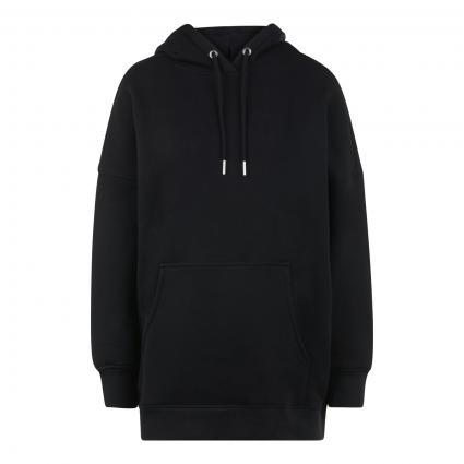 Langer Hoodie mit Kängurutasche schwarz (990 black) | XS