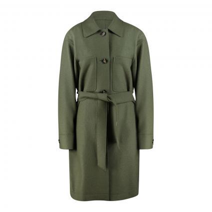 Mantel mit Bindegürtel aus reiner Wolle grün (431 dried sage) | 42