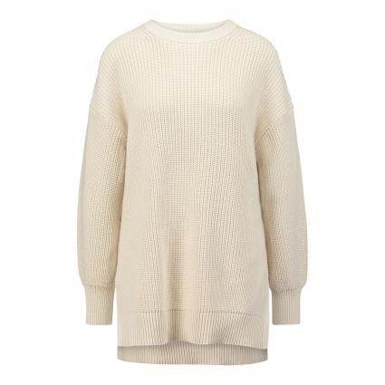 Grobstrick-Pullover mit seitlichen Schlitzen  ecru (132 natural white) | S