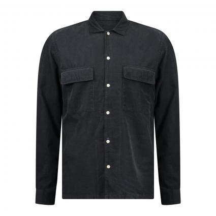 Regular-Fit Hemd in Cord-Optik schwarz (991 phantom fear) | L