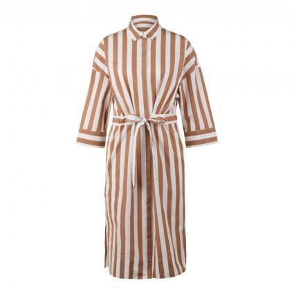 Gestreiftes Kleid mit Bindegürtel braun (237 Lt/Pastel Brown)   44