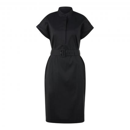 Kurzes Kleid in Hemdblusen-Optik schwarz (001 Black) | 44