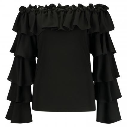 Shirt mit Rüschen und Carmen-Ausschnitt schwarz (11 SCHWARZ) | 44