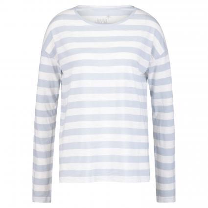 Langarmshirt mit Streifen-Print weiss (100/21 weiß/ice blue)   S