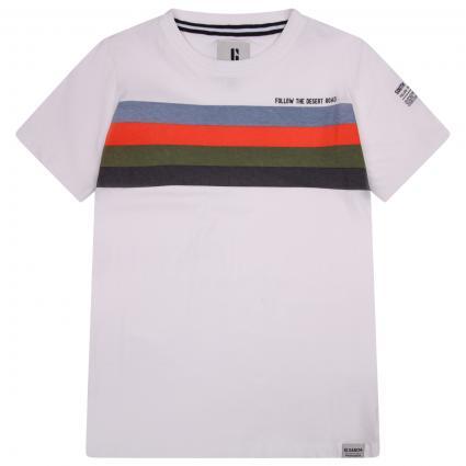 T-Shirt mit Streifen und Logo ecru (53 WHITE)   140