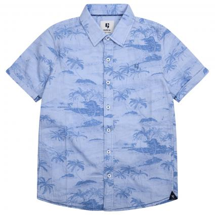 Kurzärmliges Hemd mit spannendem All-Over Muster  blau (2883 BLUE)   152