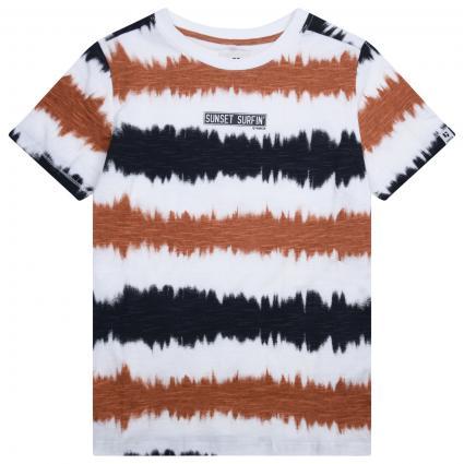 T-Shirt mit All-Over Muster und Print  ecru (53 WHITE) | 176