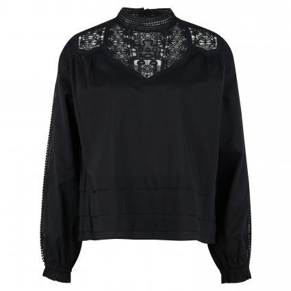 Bluse mit Spitzeneinsatz schwarz (0008 Black) | S