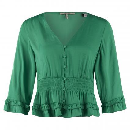 Satin-Top mit Rüschen grün (3565 Tikki Green)   L