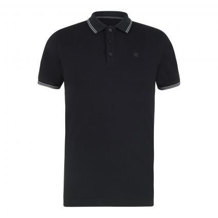 Poloshirt mit Label-Stickerei schwarz (999 Black) | S
