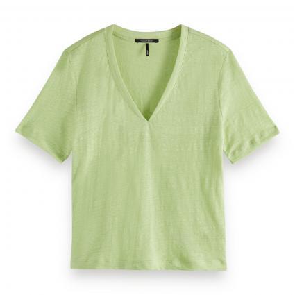 Leinen T-Shirt mit V-Ausschnitt  grün (1081 Seaweed) | XS