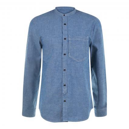Regular-Fit Hemd mit Stehkragen in Jeans Optik  blau (0089 Indigo) | XL