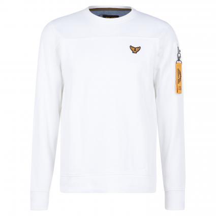 Pullover mit Logo-Patch und Armtasche weiss (7003 Bright White) | XXL