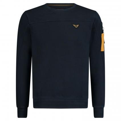 Pullover mit Logo-Patch und Armtasche marine (5287 Dark Sapphire) | S