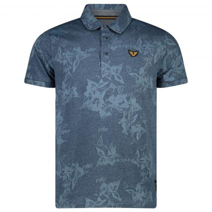 Polohemd mit All-Over Muster  blau (5030 Blue Indigo) | XXXL
