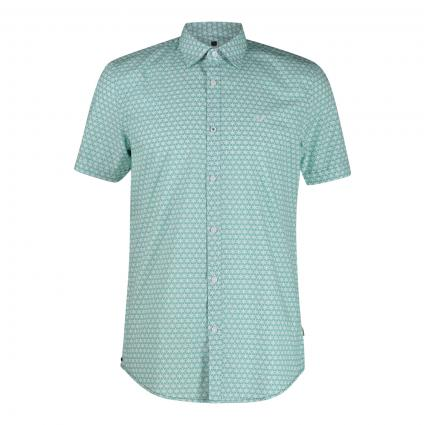 Kurzarmhemd mit Musterung grün (6113 Deep Green) | XXXL