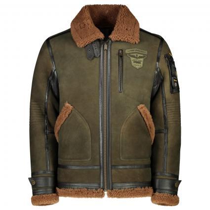 Jacke aus reinem Schafsfell  oliv (6025 Beetle) | XL