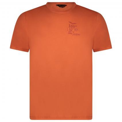 T-Shirt mit Labeling  orange (2080 Burnt Ochre) | S