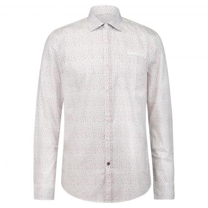 Hemd mit All-Over Muster weiss (7072 Bright White) | XL