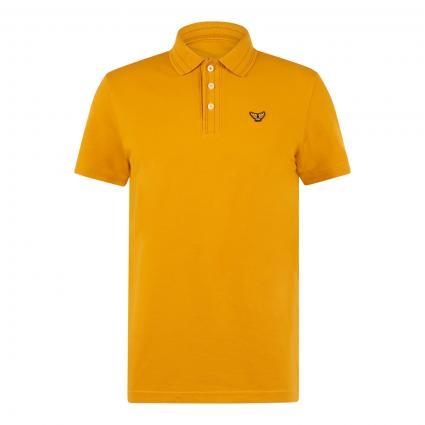 Poloshirt mit Label-Stickerei  gold (1084 Golden Yellow) | XXL