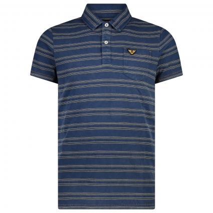 Polo-Shirt in Streifen Muster und Logo Patch blau (590 Real Indigo) | M