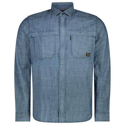 Jacke mit Reißverschluss in Hemd-Optik blau (590 Real Indigo) | S