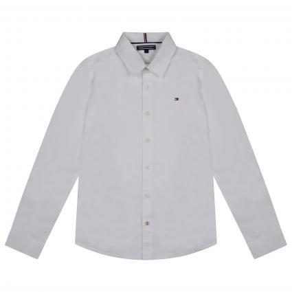 Slim-Fit Hemd mit Label-Stickerei  weiss (123 WHITE) | 164
