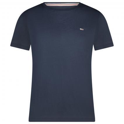 T-Shirt mit Label-Stickerei blau (C87 BLUE) | XXS