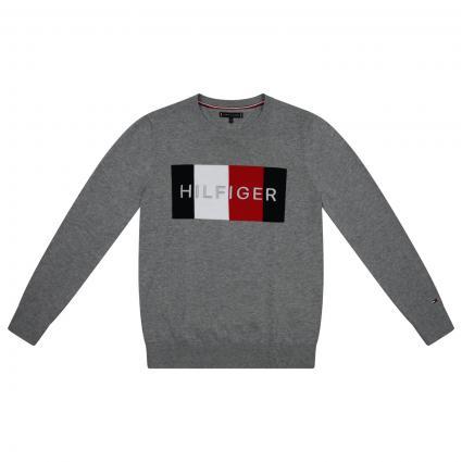Strick Pullover mit Label-Stickerei  grau (P6U GREY) | 176